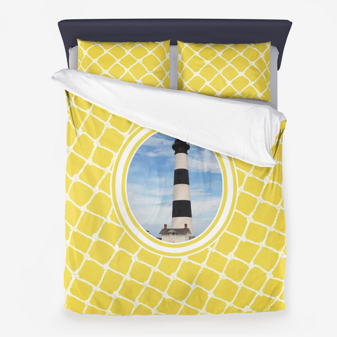 Nautical Ligthouse Design on Illuminating Yellow -Microfiber Duvet Cover with Pillow Sham(s)