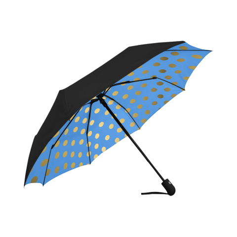 Blue and Gold Dot  Design Auto-Foldable Umbrella Anti-UV