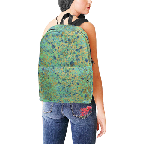 Women's Blues and Gold Patina Design Unisex Classic Backpack (Model 1673)