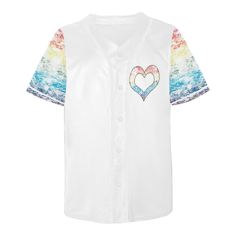 Pride-Flag Distressed Design All Over Print Baseball Jersey