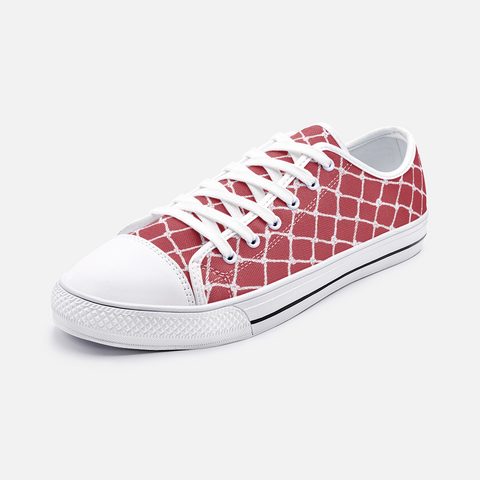 Nautical Rope in White on Samba Red Design Low Top Canvas Shoes-Unisex