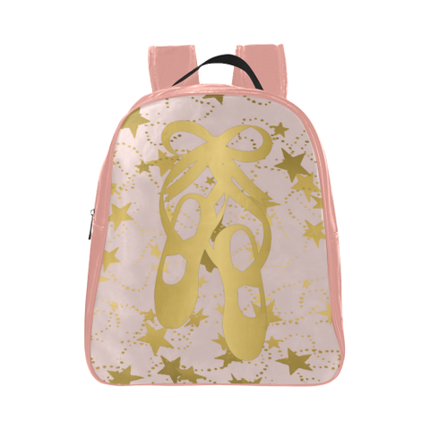 Ballet Shoes in Gold with  Pale Pink- Child's Small Backpack