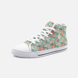 Retro Tropical Floral Print in Blush and Cream on Aqua- Unisex Hi-Top Canvas Shoes