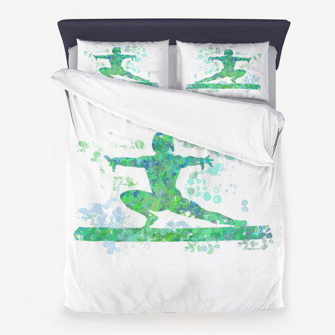 Gymnastics Beam Watercolor Design in Blues and Greens - Microfiber Duvet Cover-Style 3