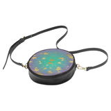 Teal Gradient and Gold  Stars Women's Round Sling Bag