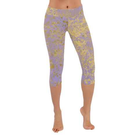 Lavender and Gold Patina Style Design Low Rise Capri Leggings