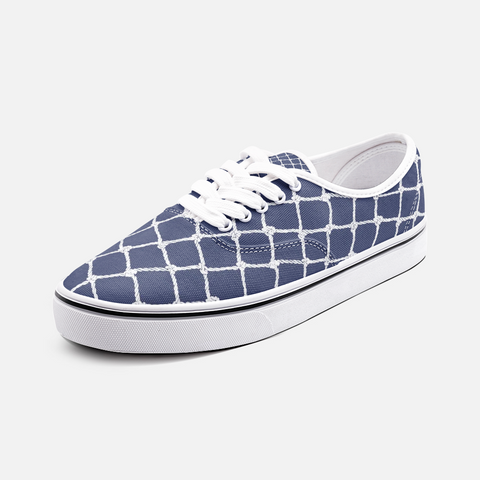 Nautical Rope Deign in White on Blue Depth (Navy) -Low Top Canvas Shoes-Unisex