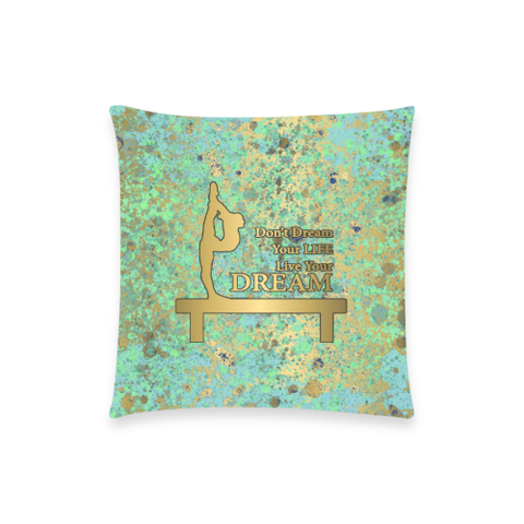 "Dream Blues Gold Patina--Throw Pillow Custom  Pillow Case 18""x18"" (one side) No Zipper"