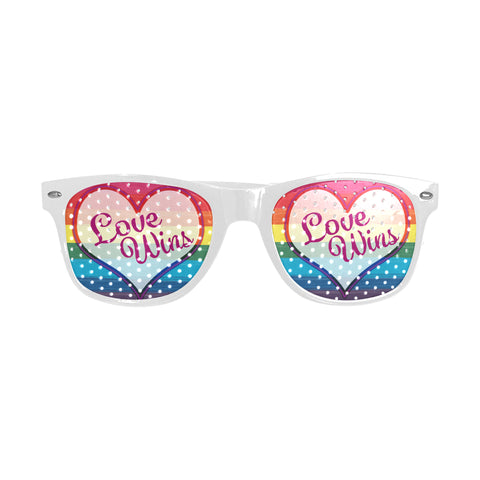 Love Wins Heart Design 7 Flags to Choose From Custom Sunglasses (Perforated Lenses)