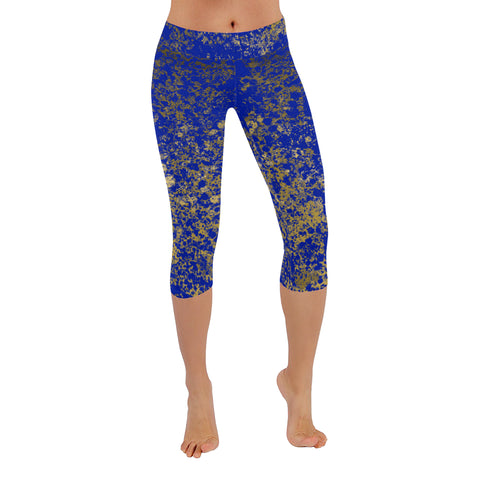 Royal and Gold Patina Style Design Low Rise Capri Leggings
