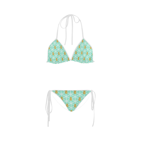 Women's Bikini Swimsuit in Tiffany Blue and Gold Pineapples