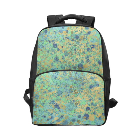 Women's Blues and Gold Patina Design Unisex Laptop Backpack (Model 1663)