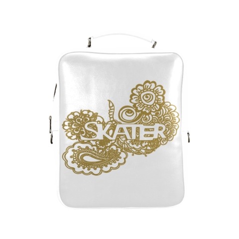 Gold Figure Skater Doodle  Design on Gradient and White Square Backpack-Style 1