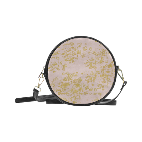 Pale Pink and Gold Flake Design Round Sling Bag