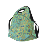 Women's Blues and Gold Patina Design Neoprene Lunch Bag/Large (Model 1669)