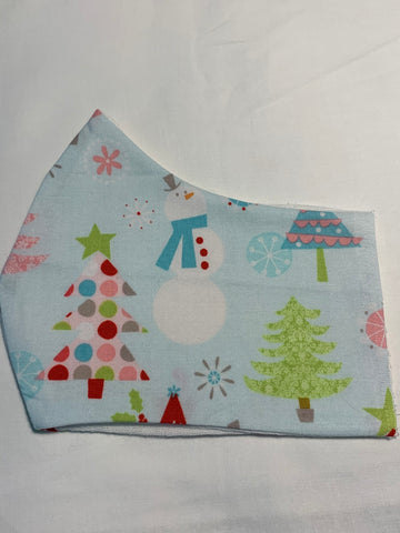 Face Masks in 3D Cone Shape -100% Quilters Cotton -Christmas/ Winter Trees and Snowmen on Light Blue Fabric- Adjustable Sizing Face Mask