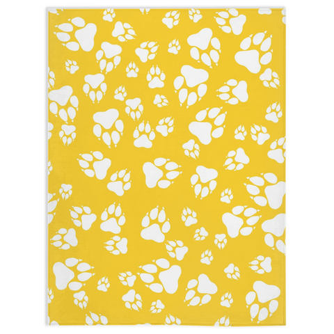 Tiger Paw Prints Pattern White on Gold -Minky Blankets