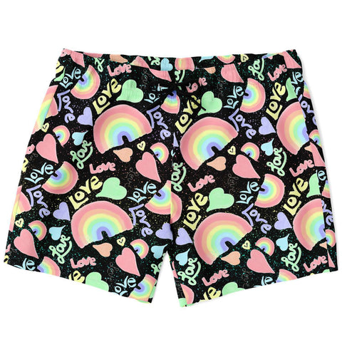 Pastel Love, Rainbows and Hearts Design Swim Trunks-Black