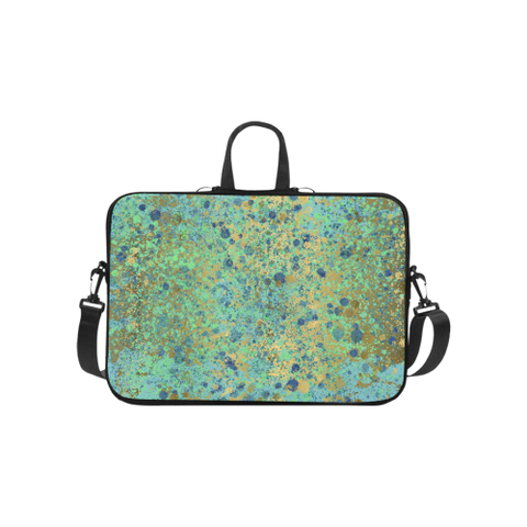 Women's Blues and Gold Patina Design Laptop Handbags 10""
