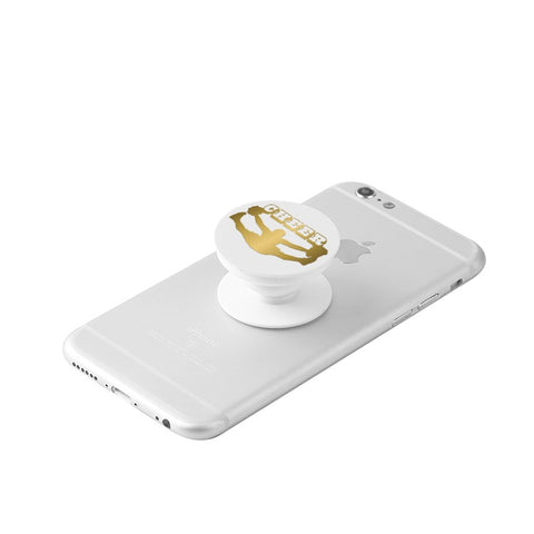 Gold Cheer Silhouette  -White Collapsible Grip & Stand for Phones and Tablets