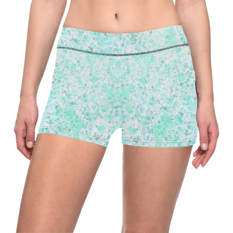 Ice Blue, Mint and White Splatter Paint Design Women's All Over Print Yoga Shorts