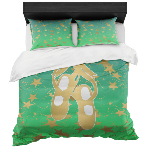 Ballet Shoes Silhouette in Gold with Stars on Lime Gradient-Duvet with 2 Pillow Shams