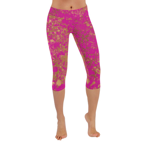 Pink and Gold Patina Design Low Rise Capri Leggings