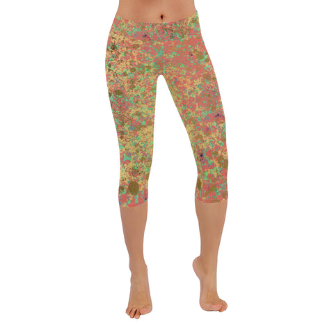 Coral, Mint and Gold Patina Design Low Rise Capri Leggings