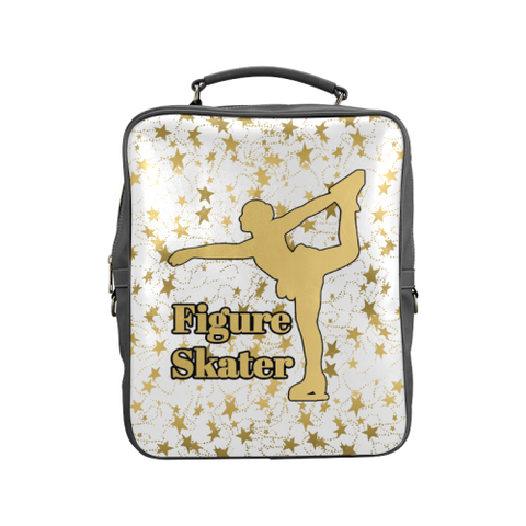 Gold Figure Skater Design on Gradient and Black Square Backpack-Style 5