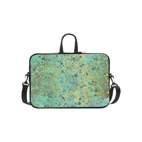 Women's Blues and Gold Patina Design Laptop Handbags 14""