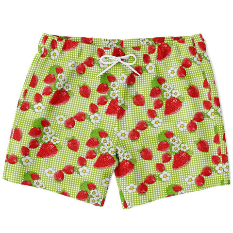 Strawberry Patch on Green Plaid Design Swimtrunks