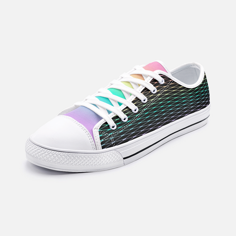 Fishnets in Pastel Rainbow on Black Unisex Low Top Canvas Shoes