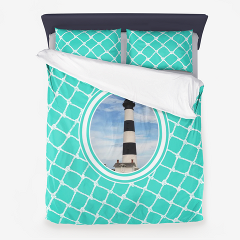 Nautical Bodie Lighthouse on Turquoise Design  Microfiber Duvet Cover with Pillow Sham(s)
