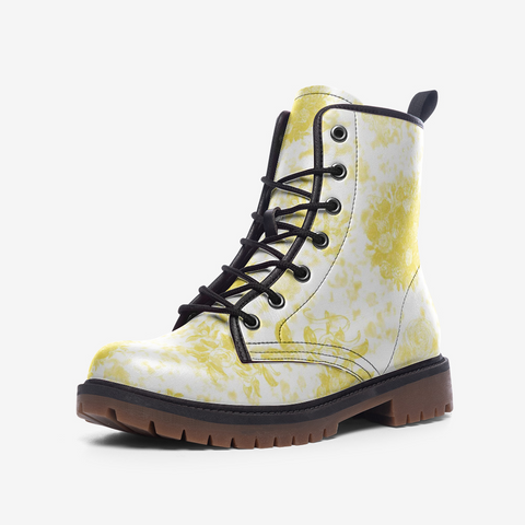 Roses in  Illuminating Yellow Design Casual Leather Lightweight boots MT