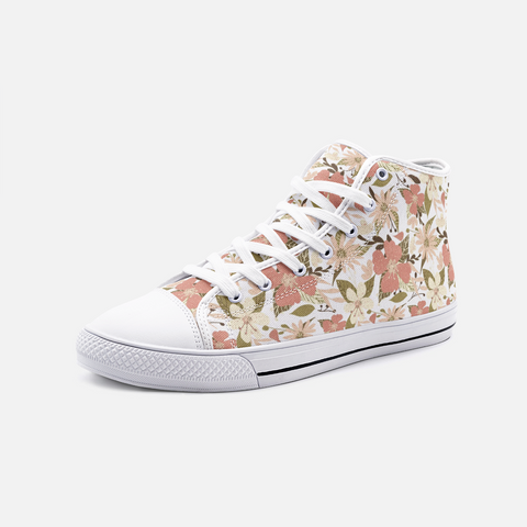 Retro Tropical Floral Print in Blush and Cream on White  - Unisex High Top Canvas Shoes