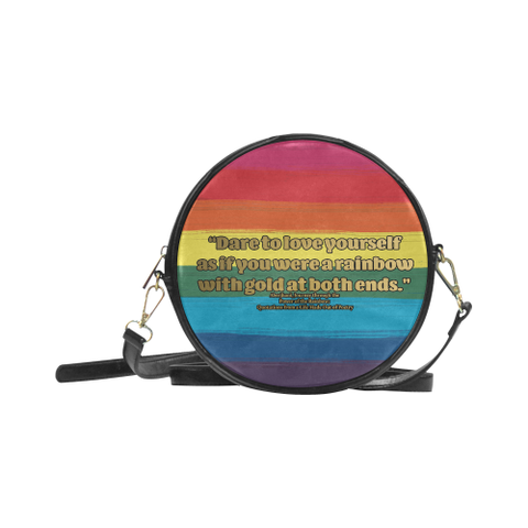 LGBT Gradient and Gold Stars - Style 2 Round Sling Bag