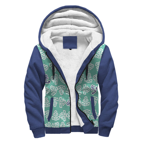 Anchors Away Teal and Navy Design Sherpa Lined Hoodie