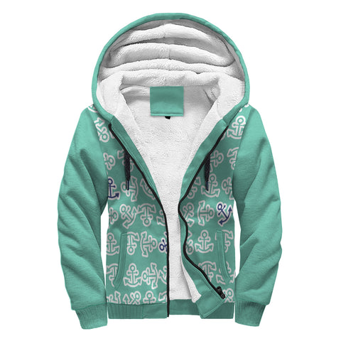Anchors Away Design in Teal with Navy Anchors Sherpa Lined Hoodie