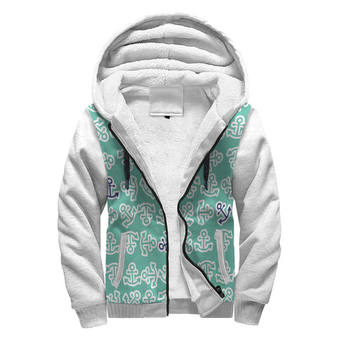 Anchors Away Design in Teal , White and with Navy Anchors Sherpa Lined Hoodie