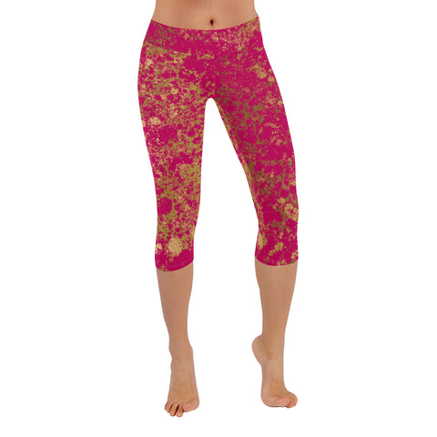 Magenta and Gold Patina Design Low Rise Capri Leggings