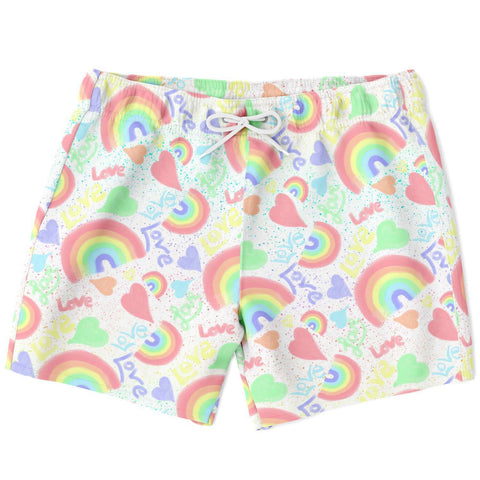 Pastel Love, Rainbows and Hearts Design Swim Trunks
