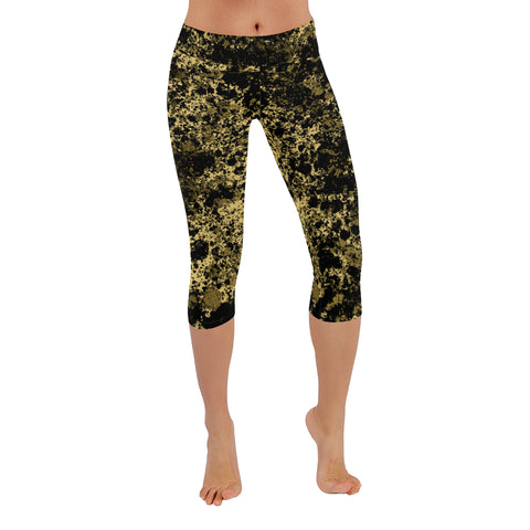 Black and Gold Patina Design Low Rise Capri Leggings