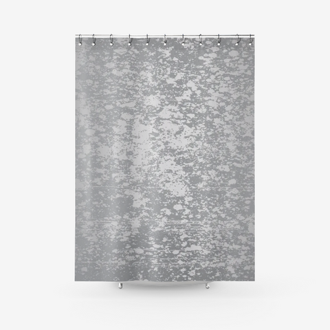 Digital Silver Patina Design on Ultimate Gray Textured Fabric Shower Curtain