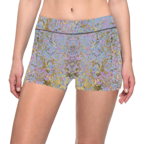 Blue, Purple and Gold Splatter Paint Design Women's All Over Print Yoga Shorts