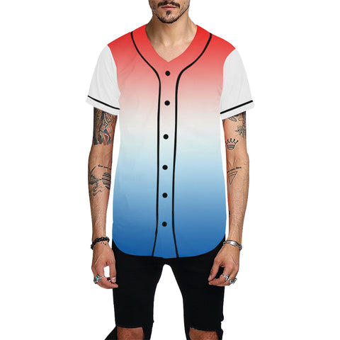 Gradient Red, White, and Blue All Over Print Baseball Jersey for Men