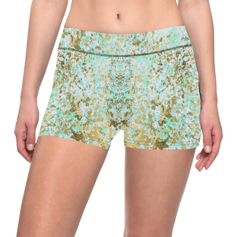 Pastel Mints, and Blues Splatter Paint Design Women's All Over Print Yoga Shorts