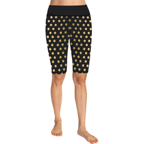 Gold Dots on Black Yoga Knee Length Shorts