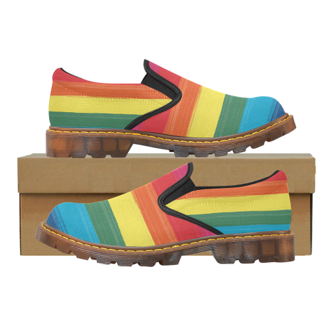 "Men's Rainbow Paint Stroke Design ""Martin"" Style Loafers"
