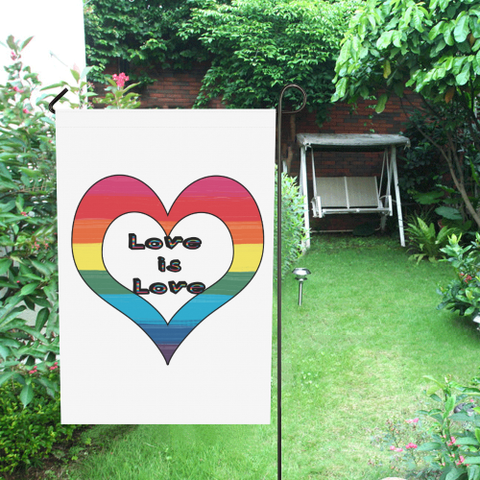 LGBTQ+ Pride Love is Love Heart on White Garden Flag 28''x40'' (Without Flagpole)