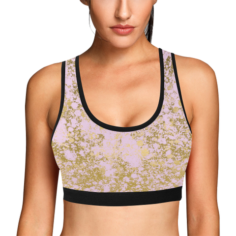 Pale Pink and Gold Patina Design Women's All Over Print Sports Bra